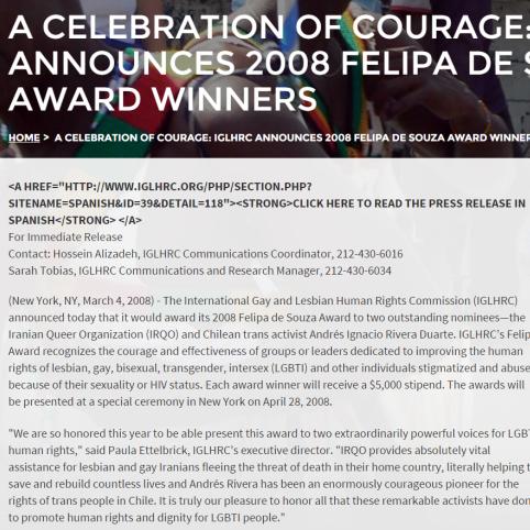 برندگان جایزه فلیپا دو سوزا سازمان اقدام آشکار (2008)